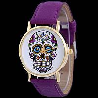 Мега модные женские часы с черепом на циферблате в стиле Ed Hardy, фиолетовые