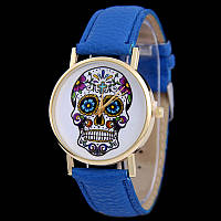 Мега модные женские часы с черепом на циферблате в стиле Ed Hardy, синие, фото 1