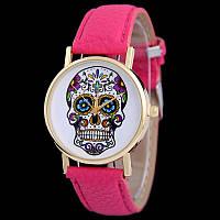 Мега модные женские часы с черепом на циферблате в стиле Ed Hardy, малиновые