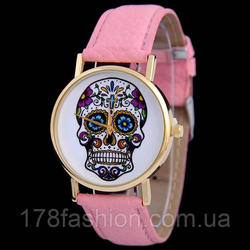 Мега модные женские часы с черепом на циферблате в стиле Ed Hardy, розовые