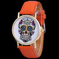 Мега модные женские часы с черепом на циферблате в стиле Ed Hardy, оранжевые, фото 1