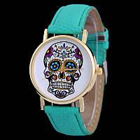 Мега модные женские часы с черепом на циферблате в стиле Ed Hardy, мятные