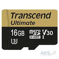 Карта памяти Transcend 16 GB microSDHC UHS-I U3 Ultimate + SD Adapter TS16GUSDU3M