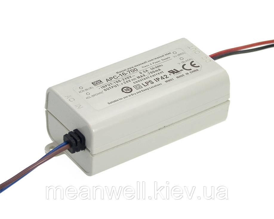 APC-16-700 Блок питания Mean Well  Драйвер для светодиодов (LED) 16.8 Вт, 9~24 В, 700 мА