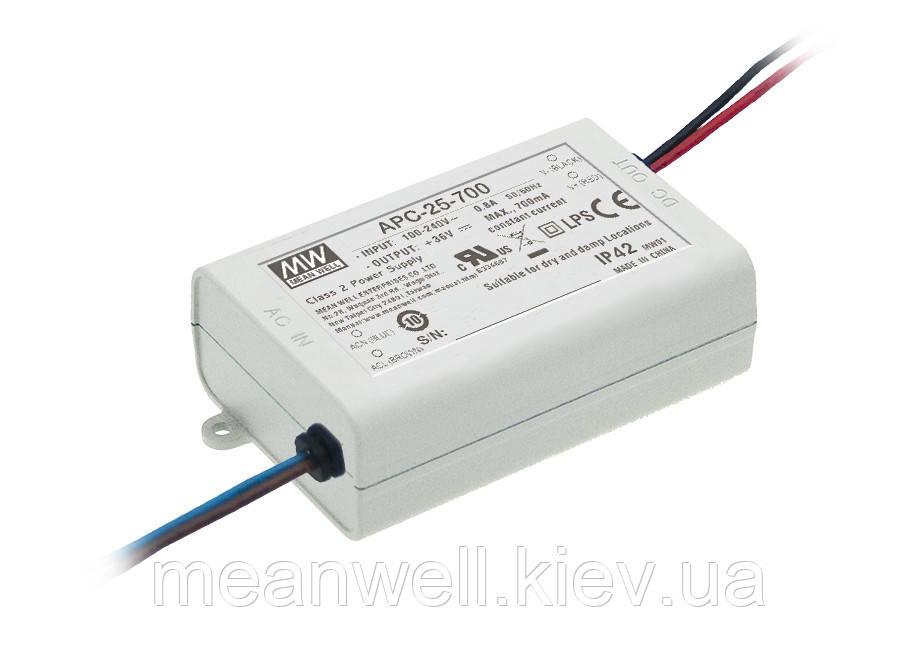 APC-25-700 Блок живлення Mean Well Драйвер для світлодіодів (LED) 25.2 Вт, 11~36 В, 700 мА