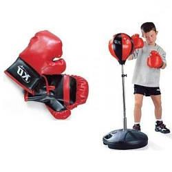 Детский боксерский набор на стойке, груша и пара перчаток Profi, красный с черным