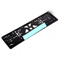 Рамка номера пластик черная с белым отражателем Vitol