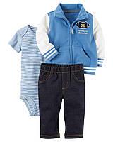 Трикотажный комплект 3в1 Carters с кардиганом и штанами голубой с мячом