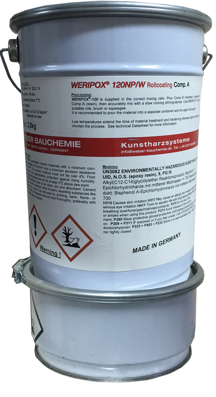Пігментована 2-компонентна смола для наливної підлоги Weripox® 120, пак. 30 кг. / Эпоксидный наливной пол