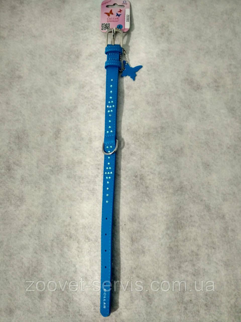 Нашийник зі стразами Ромб COLLAR GLAMOUR синій 33032