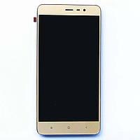 Дисплей (экран) для Xiaomi Redmi Note 3 PRO + тачскрин, с передней панелью, цвет золотой, фото 1