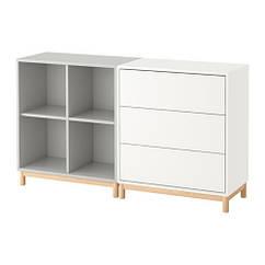 Сочетание шкафчиков с ножками, белый, светло-серый, 140x35x80 см IKEA EKET 291.908.82