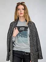 Женский молодежный свитшот серого цвета «Mountains»
