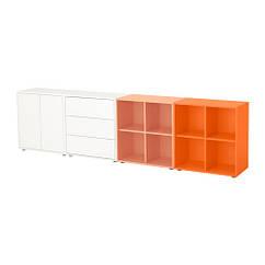 Сочетание шкафов с ногами, белый / оранжевый, оранжевый, 280x35x72 см IKEA EKET 491.910.22
