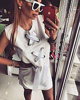 Белое платье . Крем-коттон стрейч