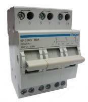 SFT340 Переключатель трехпозиционный 400В/40А, 3-полюсний, 3м, с общим выходом сверху(Hager)