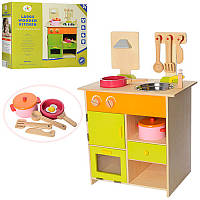 Детская деревянная кухня с аксессуарами большая,68,5 см высотой, MSN13025