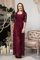 Женское длинное гипюровое платье бордового цвета 125-3