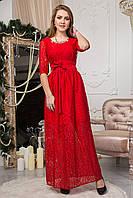 Нарядное женское гипюровое длинное платье красного цвета 125-2