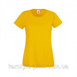 Футболка женская FOL Lady Fit Valueveight Tee L, желтая