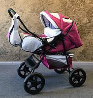 Детская коляска-трансформер Trans Baby Dolphin, малиновый+металлик