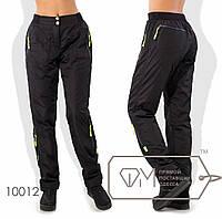 Спортивные брюки из плащевки на флисе, черные 10012 фм