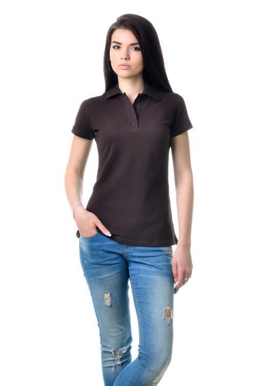 Жіноча футболка-Поло з коротким рукавом - коричневий