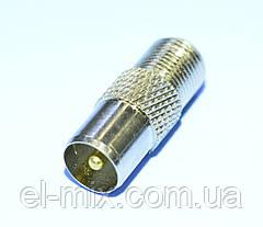 Переходник штекер TV ант. - гнездо F, CU, gold pin  2-0110