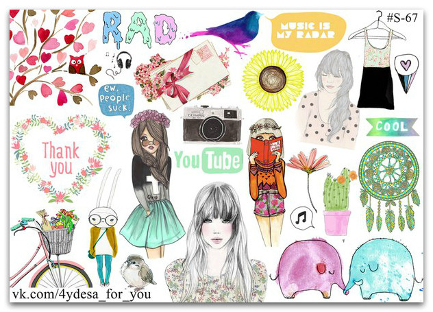Stickers Pack Watercolor #67