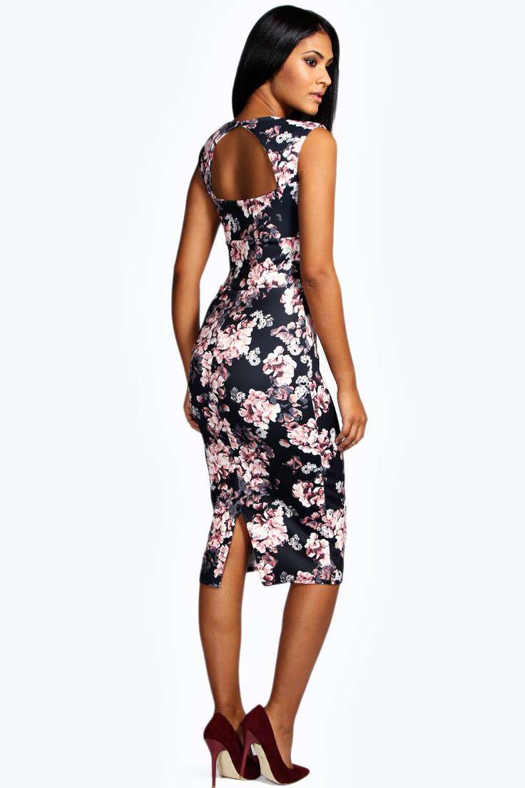 Новое платье миди с вырезом на спинке в цветочный принт Boohoo