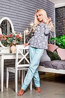 Раздельная женская пижама брюки и рубашка из хлопка!