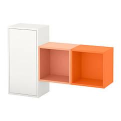 Сочетание настенных шкафов, белый / оранжевый, оранжевый, 105x25x70 см IKEA EKET 891.890.60