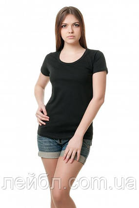Женская футболка однотонная - черная, фото 2
