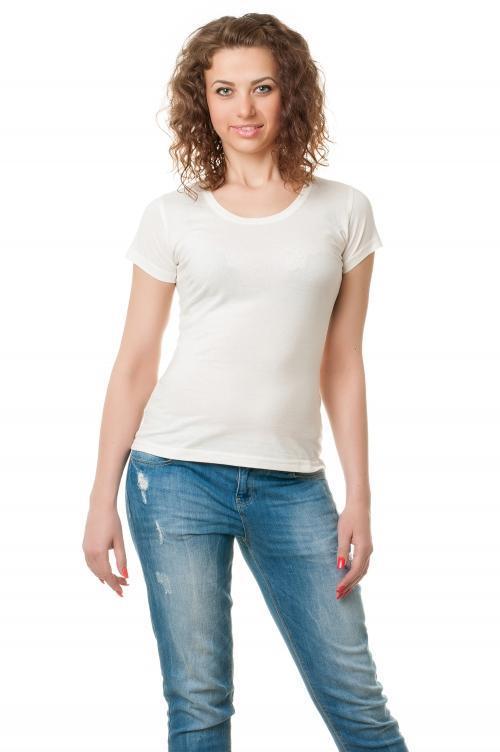 Женская футболка однотонная-белая