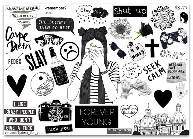 Stickers Pack Black&White #77