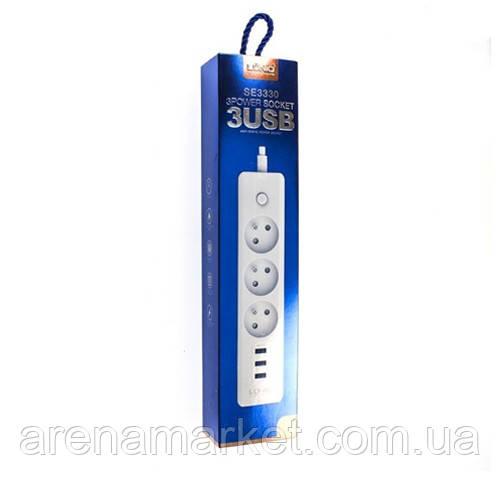 Удлинитель сетевой LDNIO SC3330 3USB 3 розетки 1.8м