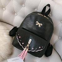 Рюкзак городской для девочек с бантиком и кисточками (черный), фото 1