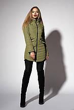 Женское демисезонное пальто. Код модели К-102-37-18. Цвет оливковый.