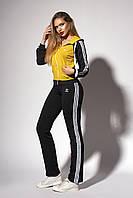 Женский спортивный костюм. Код модели КС-12. Цвет черный с горчицей.