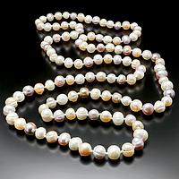 Жемчуг белый, персик и фиолетовый, 110 см., бусы, 306БСЖ, фото 1