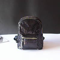 Рюкзак городской женский для девочек, девушек с пайетками (черный)