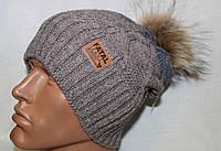 Вязаная шапочка с натуральным енотовым помпоном. Флис. Молодежка.