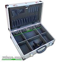Ящик, кейс, дипломат для косметики, инструментов алюминиевый, с перегородками (455*330*152 мм)