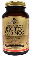 Solgar, Биотин, 5000 мкг, 100 вегетарианских капсул Солгар 5 мг