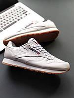 Кроссовки Reebok Classic Leather white/gum. Живое фото! Топ качество! (рибок)
