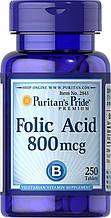 Фолієва кислота, Puritan's Pride Folic Acid 800 mcg 250 Tablets