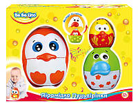 Детская игрушка Пирамидка-матрешка птенцы с оранжевой птичкой, BeBeLino
