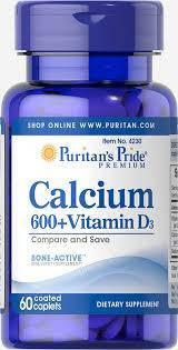 Кальций карбонат Puritan's Pride Calcium Carbonate 600 mg + Vitamin D 250 IU  60 Caplets, фото 2