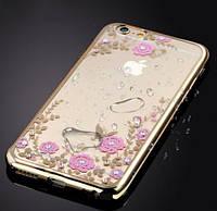 Чехол с цветами и стразами iPhone 7/8 (Gold), фото 1