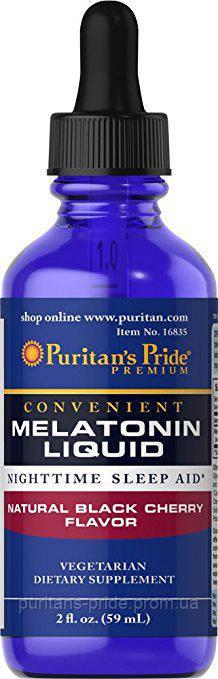 Puritan's Pride Sublingual Melatonin Natural Black Cherry Flavor 1 mg 2 oz